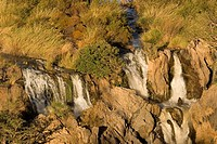 River Kunene and Angola fallen down the Epupa Waterfalls, Namibia