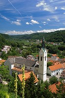 High angle view of church, Sevnica, Balkan Peninsula, Slovenia