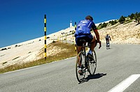 Cyclists in the ascent to Mont Ventoux, peak in the back, Provence, France