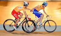 Sebastian FREY GER left and Christoph MESCHENMOSER GER right at Sixdays 2008 Stuttgart, Baden-Wuerttemberg, Germany