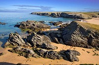 Brittany, Belle-Ile, wild coast : beach of Donnant