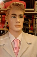 Male mannequin wearing suit and pink tie, Nuremberg, Middle Franconia, Bavaria, Germany, Europe