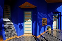 Terrace entrance of the blue mansion, Jardin Majorelle, Marrakech, Morocco, Africa
