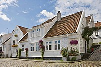 Beautiful old wooden houses in Old Stavanger, the historic centre of Stavanger (European Capital of Culture 2008), Norway, Europe
