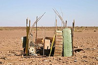 Small barrack consists of scrap metal, South of Namibia, Africa