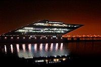 Modern office building Dockland at river Elbe - city of Hamburg - harbour in the night - Hamburg, Germany, Europe