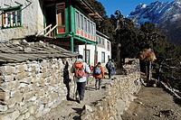 Trekking group at Sherpa village Pangboche, Sagarmatha National Park, Khumbu, Nepal