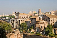The Temple of Antoninus and Faustina and the Temple of Romulus seen from Palatine Hill, Forum Romanum (Roman Forum), Rome, Italy, Europe