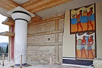 Frescoes depicting young men in the Palace of Knossos, Crete, Greece, Europe