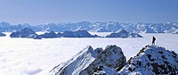 Panoramic view of the Karwendel Range in sea of fog, view of Mieminger Chain and Stubai Alps, Upper Bavaria, Bavaria, Germany, Europe