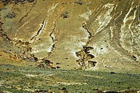 Erosional damage near Gyantse, Tibet