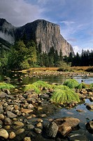 El Capitan over the Merced River, Yosemite Valley in fall, Yosemite National Park, CALIFORNIA