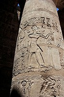 Column in Medinet Habu temple, Luxor, Egypt
