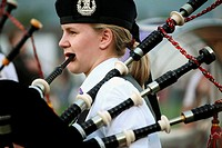 Bagpipers. Scotish games in Fort William. Highlands. Scotland.