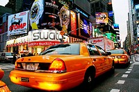Taxis. Times Square. New York City. USA