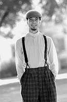 Black and White portrait of teenage male in 1920's style swing dancing outfit. Fort Collins, Colorado, USA