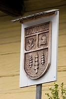 Sign with coat of arms, Vlkolínec, Slovakia