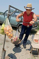Man selling fruit by motorway, Belgrade, Serbia