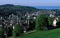 Switzerland, Europe, canton St. Gallen, St. Gallen city, abbey church, Lake Constance, trees, houses, homes, nature, l