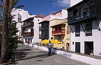 Typical balconies in the Avenida Maritima, Santa Cruz de la Palma, La Palma, Canary Islands, Spain