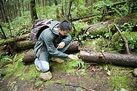 Man looking at fungus in forest