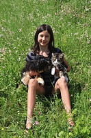 Girl, teenager, sit, carry, sitting, playing, carrying, meadow, dog, Havanese, cat, Norwegian forest cat, Skogkatt, pl