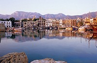 The old harbour of Girne with reflection, Kyrenia, North Cyprus