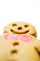 Close_up of a gingerbread man cookie