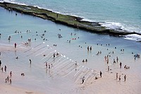 People bathing in the sea, View of the beach from Recife Palace Hotel, Recife, Pernambuco, Brazil, South America