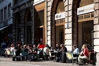 People sitting in a pavement cafe, Gerbergasse, Basel, Switzerland