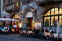 People sitting at tables outside a restaurant, Zum Braunen Mutz, Barfuesserplatz, Basel, Switzerland