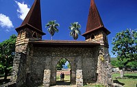 The cathedral of Taiohea on the island of Nuku Hiva, French Polynesia