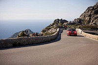 Porsche 911 on Bowtie Curve of Sa Calobra Mountain Road, Rally Classico Isla Mallorca, near Cala de Sa Calobra, Mallorca, Balearic Islands, Spain