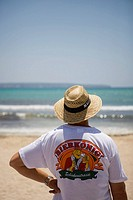 German Tourist with Bierkoenig T_Shirt, El Arenal, Playa de Palma, Mallorca, Balearic Islands, Spain