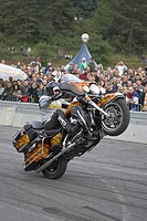STUNT SHOW with Rainer Schwarz _ of official stunt drivers for HARLEY_DAVIDSON and Germany BUELL and Austria on a HARLEY DAVIDSON BUELL, Geiselwind, G...