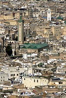Cityscape of the old town with mosques, imperial city Fes, Morocco