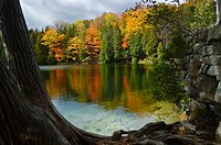 Fall colors reflected off Crawford Lake (thumbnail)