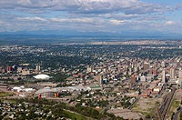 Aerial view of downtown Calgary