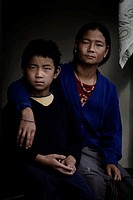 Pokhara, Nepal, Mother and Son