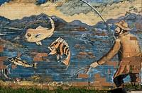 Wall painting of fishing, Esperance, Western Australia, Australia, Pacific
