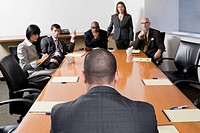 Group of business executives discussing in a meeting