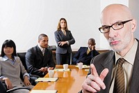 Business executives in a board room