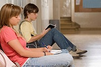 Side profile of a teenage girl and a teenage boy studying