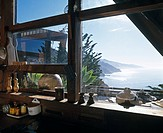 Wild Bird, Big Sur, California, 1957. Kitchen window. Architect: Nathaniel and Margaret Owings