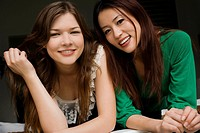 Portrait of two young women smiling (thumbnail)