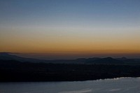 Silhouette of an island at dusk, Janitzio Island, Lake Patzcuaro, Morelia, Michoacan State, Mexico