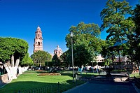 Park with a cathedral in the background, Morelia Cathedral, Plaza De Los Martires, Morelia, Michoacan State, Mexico