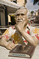 Statue of author Jorge Amado, in front of Cafe Vesuvio, Ilheus, Bahia, Brazil, South America