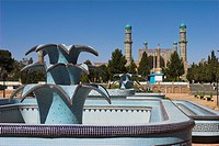 New fountain in front of the Friday Mosque or Masjet_eJam, built in the year 1200 by the Ghorid Sultan Ghiyasyddin on the site of an earlier 10th cent...