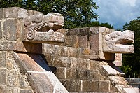 Close_up of two statues of serpent, Chichen Itza, Yucatan, Mexico